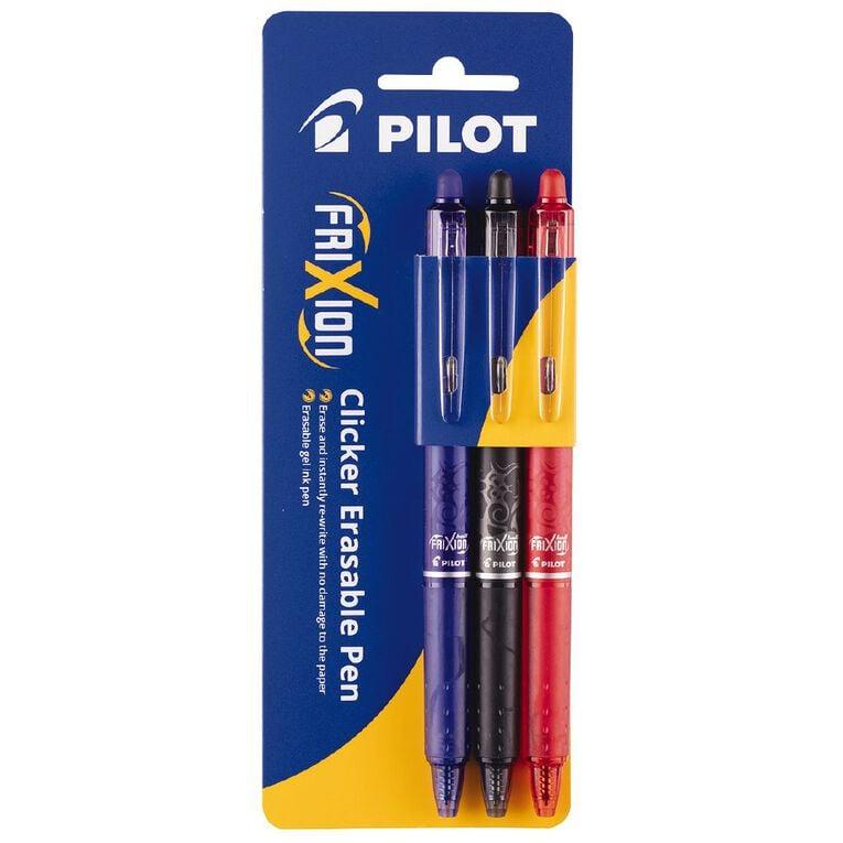 Pilot- Frixion Erasable Pen Clicker Assrtd Fine 0.7mm 3pk, , hi-res