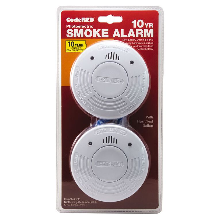 CodeRED 10 Year Photoelectric Smoke Alarm 2 Pack, , hi-res