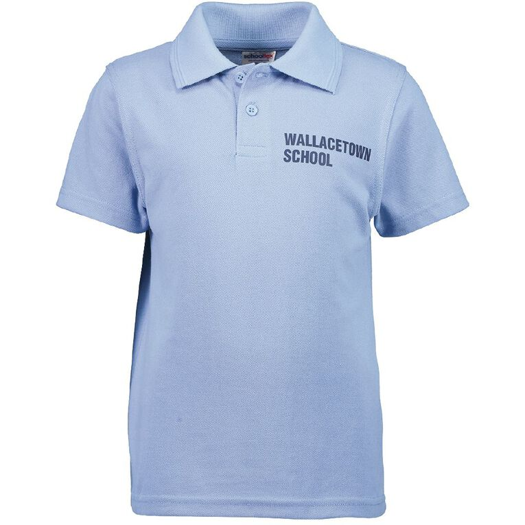 Schooltex Wallacetown Short Sleeve Polo with Transfer, Sky Blue, hi-res