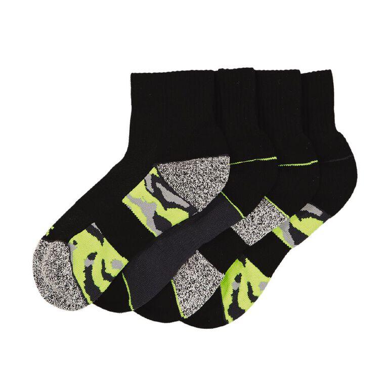 Active Intent Boy's Quater Crew Sporty Socks 4 Pack, Black, hi-res
