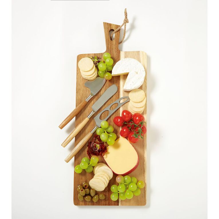 Living & Co Acacia Paddle Board Cheese Knife Set 4 Piece 42.5cm x 19.7cm, , hi-res