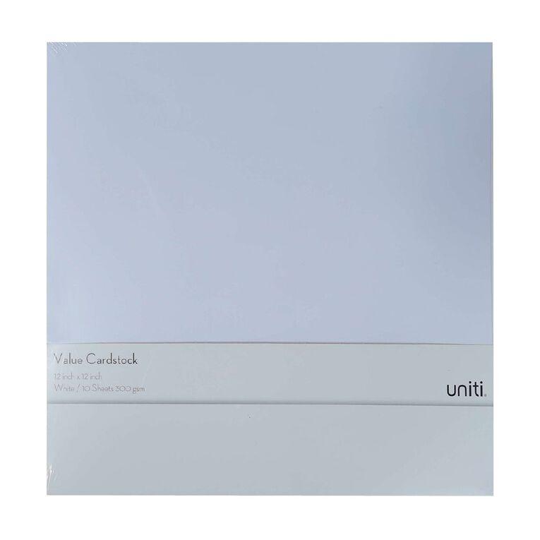 Uniti Value Cardstock 300gsm 10 Pack White 12in x 12in, , hi-res