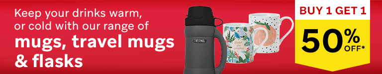 Keep your drinks warm, or cold, with our range of mugs, travel mugs & flasks